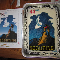 Scouting Stamp My son and husband made this cake for the Cub Scouts Blue & Gold Banquet Cake Auction. They did a fabulous job!