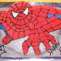 "Spiderman Cake Made this for my son's 4th birthday using a wilton ""old"" spiderman cake pan."