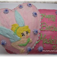 Tinkerbell Birthday Cake Made this for my daughters 5th birthday. Put a heart shaped cake on top of a 13x9 cake. I made it match clipart I used on her invitation...