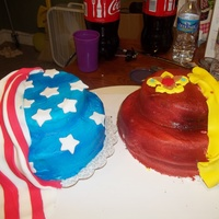 "Cubscout Blue & Gold Cermenony the flag cakes is 2 8'rounds and 1- 6"" round I airbrushed it blue & red the stars and stripes are fondant. theother flag is..."
