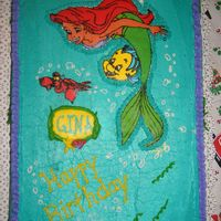 The Little Mermaid Birthday I know, not another one! FBCT of Ariel and Sebastain, I put a little too much on the back and it showed when I transfered so I had to pipe...