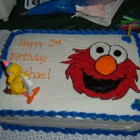 Elmo Birthday Made for my sons 2nd Birthday. Chocolate cake with BC, Elmo drawn freehand. Thanks for looking!