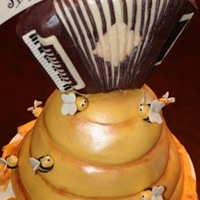 Honey & Music We had to combine the birthday boy's to hobbies for this cake -- bee keeping and playing the accordion. Accordion was chocolate...