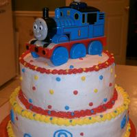 Thomas The Train This was for my nephew's 3rd birthday. It was a 10in and an 8in stacked cake. Thomas was just a toy used as a topper. Got the idea...