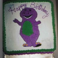 Barney first birthday cake, i drew the figure on by using a stencil and toothpicks