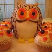 Owls large owl is made in 2 oven proof bowls and covered with fondant. Large owl decorated with sliced almonds. Eyes are sliced candy peaches,...