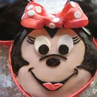 Minnie Mouse 10 inch round for face, 6 inch rounds for ears. all decorations fondant
