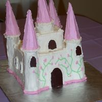 Castle Cake  this is my first decorated cake. i made it for my daughter's 4th b-day. it was chocolate cake frosted with IMBC mixed with RBC (very...
