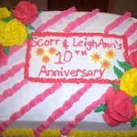 Anniversary Cake  I made this cake for my neighbor who wanted to surprise his wife for their 10th anniversary. He specifically requested roses because he...