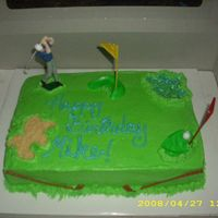 Butter Cream Golf Cake 2 layer cake with butter cream frosting. Brother-in-law likes golf so I made him a golf cake for his birthday. Sand pit is crushed butter...