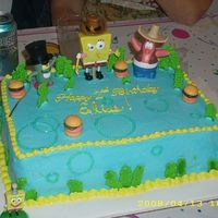 Spongebob made for a friends son. He wanted some sort of spongebob cake. The things on top are little toys, the rest is buttercream with royal icing...