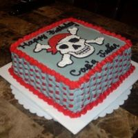Pirate Skull Pirate cake I made for my nephew's birthday. Gray and red buttercream. flat tip basketweave on the sides. Pattern transfer skull for...