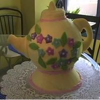 "Teapot Cake  I made this cake for our churches ""Ladies Tea"" last year. The flowers, handle and spout are fondant attached with wooden dowel..."