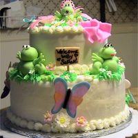Froggie Baby Shower Cake  Cake is classic white cake with 1/2 butter, 1/2 crisco buttercream. Flowers out of gumpaste, sign, frogs, blanket, butterflies, dragonflies...