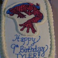 Spider Man Cake Spider Man cake. Cake is white cake w/reg. bc. FBCT of Spiderman. This was supposed to be MUCH more...but the cake fell apart on me...I...