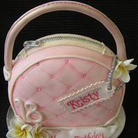 Purse Cake My first bag/purse cake with frangipanis....very girlie!!
