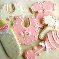 Girl Baby Shower Cookies Shower cookies for baby girl. I thought it was a cute idea when the customer requested the little dress. I'd never thought of that for...