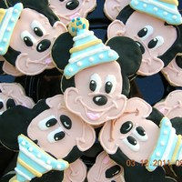 Party Mickey! Mickey cookies for baby's first birthday. I was working from a napkin, then decided to make the additional cookie party hat that...