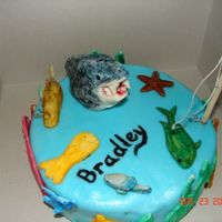 Fishy Cake Double chocolate cake with chocolate buttercream. Blue rolled buttercream. All the fish are made of gumpaste. Turned out pretty good for...