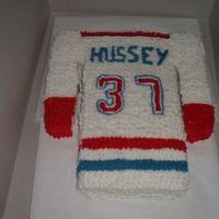 Hockey Jersey I made this cake for my cousins 13th birthday. If you can't tell he loves hockey so I decided a replica of his hockey jersey might be...
