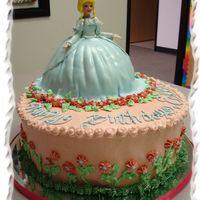 Cinderella Everything in this cake is edible. Cinderella's waist down is cake covered with fondant, while waist up is molded white chocolate hand...