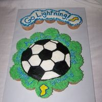 Soccer Cupcake Cake Made this for a friend's daughter's 6-year old soccer team's party. White cake w/ buttercream filling. Got the idea for the...