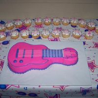 Electric Guitar White cake with buttercream icing. Used the Wilton cake pan my friend gave me as 'payment' for cake. We needed to feed quite a...