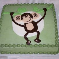 "Monkey 12"" square marble cake decorated with buttercream to match the baby's nursery theme. Enjoy!"