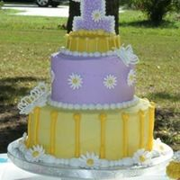 1St Birthday Cake buttercream with royal icing accents