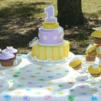 1St Birthday Cake And Coordinating Cupcakes buttercream with royal icing accents