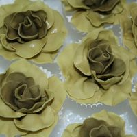 Roses For 30Th Anniversary Cake one of my previous students hired me to make 75+ gumpaste roses in this really tricky color (olive/sage green). I had a silk flower to go...
