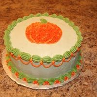 Sample Cake For A Class I Teach This was made as a demo for a class that I teach....demonstrated a piping gel transfer, outlined and filled in with dots (I love dots...