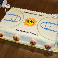 School Basketball Team Court Cake This was fun to do! Everything is edible except for the lollipop sticks. The hoop, backboard, sun, and writing are done in royal icing. The...