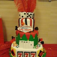 Las Vegas 3 tiered birthday cake. The bottom tier has triple 7's like a slot machine. The middle tier has mmf poker chips all around it. The top...