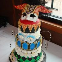 Masquerade Cake  The cake is hand painted with luster dust colors to add a sheen. The masks are made of gumpaste and the dusted with luster dusts also. The...