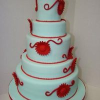 Red Gerbera Daisy Wedding Cake sky blue 5 tier round cake with varing heights. It has red gerbera daisies that we made from scarlet red flower paste.