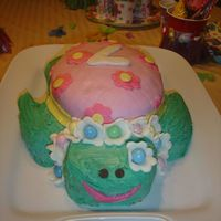 Sea Turtle Hula Girl combo of marshmellow fondant and butter creme with the use of chocolate chips and peanut butter eggs as decoration
