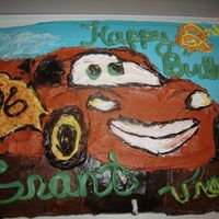 """cars"" Cake I made this for our sons 2nd birthday. He loved the movie ""Cars"", so I tried my best to make Lighting for him. The dirt is..."
