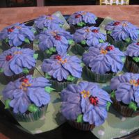 Purple Hibiscus Cupcakes Buttercream with little ladybugs