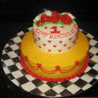Ava's Queen Of Hearts Cake All buttercream....done for my daughter's 1st birthday party.....Queen of hearts theme.