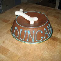 Dog Bowl Cake Made this for my neighbor's when they got a new puppy Duncan! Fondant bone and buttercream cake