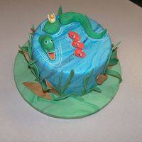 Pond Friends! This is the cake I did for the Wilton Fondant and Gumpaste class. It is a pound cake with lemon curd filling covered with MMF. Figures and...