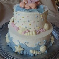 Twin Baby Shower Cake With Shells And Dots Cake was for my good friend's twin baby shower - for a boy and girl. She wanted to incorporate shells in a very subtle ocean or beach...