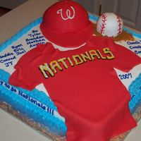 Washington Nationals Little League End Of Season Baseball Cake 16 x 16 square cake covered in buttercream with baseball made out of mini ball pan, hat made of half ball pan and covered in rolled fondant...