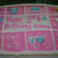Emma's 1St Birthday Cake 1/2 sheet wsac with bc icing. The cake was done to match the birthday plates.
