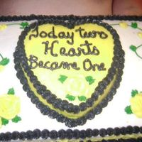 Wendell And Fayes Reception Cake 1/2 sheet chocolate cake.. 9 inch chocolate heart all in bc