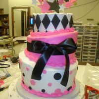 Pink & Black Topsy Turvy 3tier, done with buttercreme icing and fondant decorations