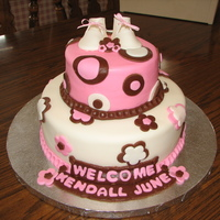 Kendall's Baby Shower Cake   Cake covered in marshmellow chocolate fondant and fondant decorations