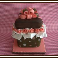 Gift Box 3 x 3 inch chocolate mini cake with transfer sheet on the bottom and also in the bow. I love making mini cakes.