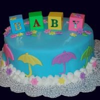 Baby Shower Umbrellas Baby shower cake covered in fondant